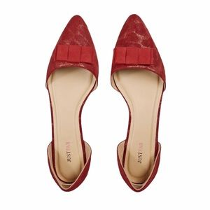 💫4/30 JUSTFAB Pointy D'Orsay Red And Gold Flats
